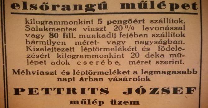 DÉDAPÁNK VIASZOS HIRDETÉSE 1938-BÓL
